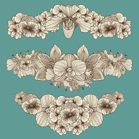 compositions: Set of vintage flowers compositions on dark teal background
