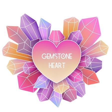 crystal heart: Heart frame with mineral crystal splash beside it Illustration