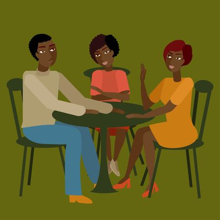 misunderstanding: Vector illustration of african family having conversation.