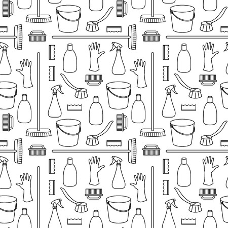 cleanser: Seamless pattern made of household cleaning objects
