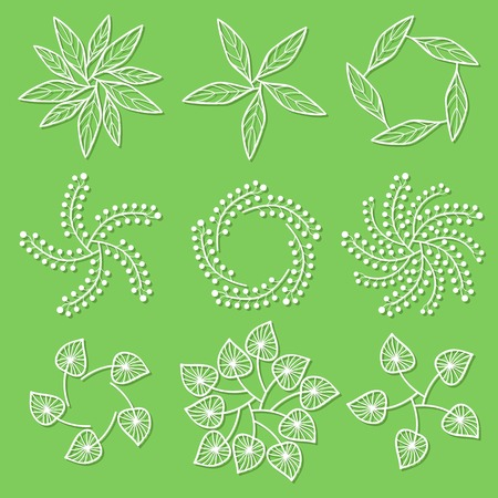 botanics: Set of floral logo on green background Illustration