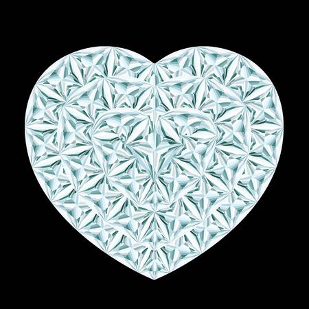 diamond heart: Diamond heart on black background