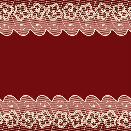 vintage lace: Dark red background with two lacy borders