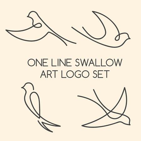 Jedna linia jaskółka sztuki logo zestaw