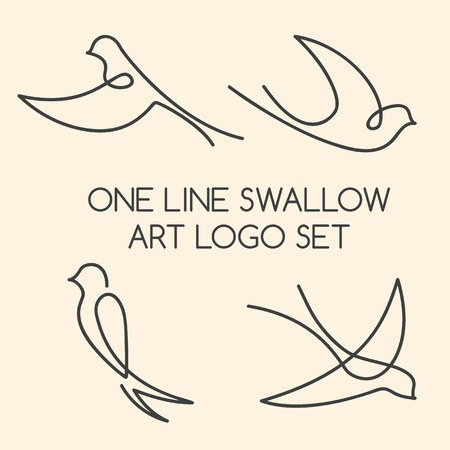 One line swallow art logo set Vectores