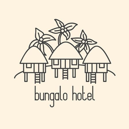 Graphic line art illustration of bungalow hotel on beige background