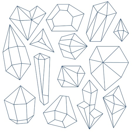 crystals: Set of mineral crystals on white background Illustration