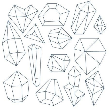 Set of mineral crystals on white background Illustration