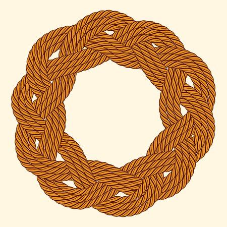 cordage: Rope decorative round frame Illustration