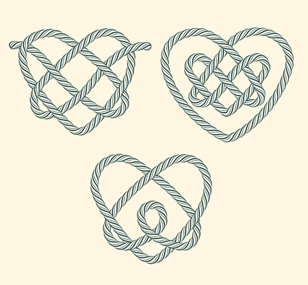 Set of rope hearts decorative knots