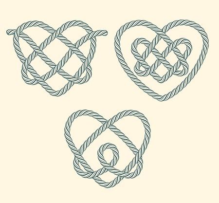 nudo: Conjunto de corazones de cuerda nudos decorativos Vectores