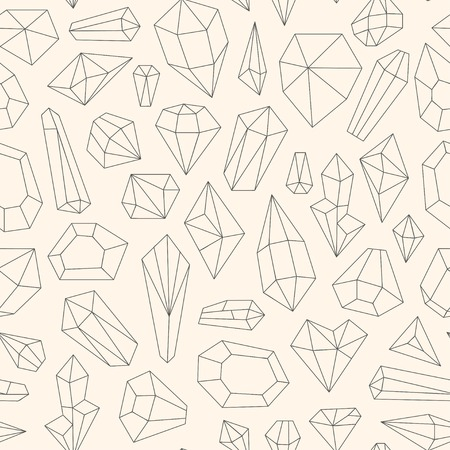 emerald gemstone: Seamless pattern made of line art crystals