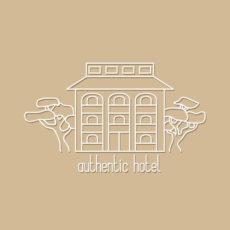 authentic: Graphic line art illustration of authentic hotel on beige background Illustration