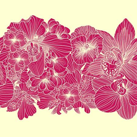 bright: Seamless bright flower border