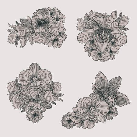 compositions: Set of vintage flowers compositions on grey background