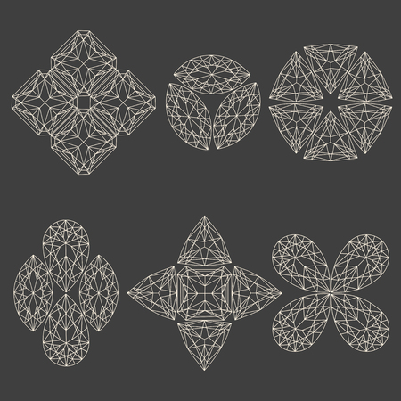emerald stone: Set of geometrical emblems made of line art crystals