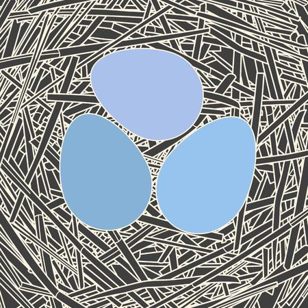 straw: Straw nest with three eggs Illustration