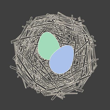 straw: Straw nest with two eggs
