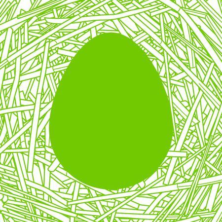 Paille nid avec grand oeuf Vecteurs