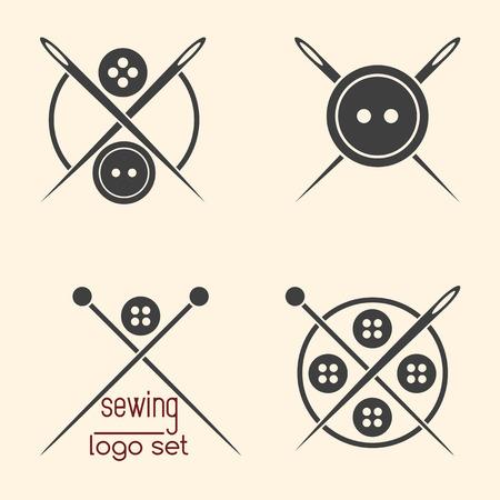 logotypes: Set of sewing logotypes on beige background