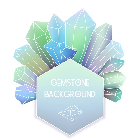emerald gemstone: Hexagon frame with crystal composition Illustration