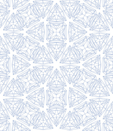 Seamless pattern made of line art crystals