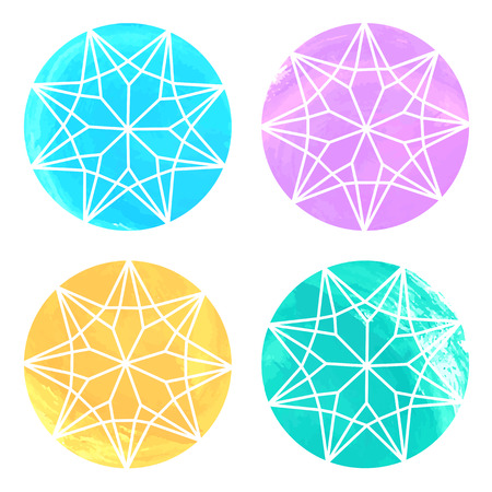Set of 4 watercolor diamonds on white background