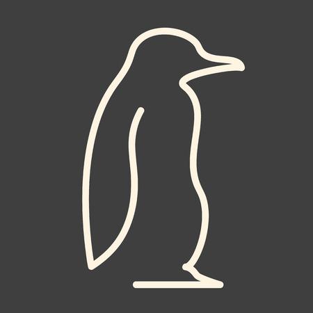 maldestro: Una linea illustrazione vettoriale pinguino Vettoriali