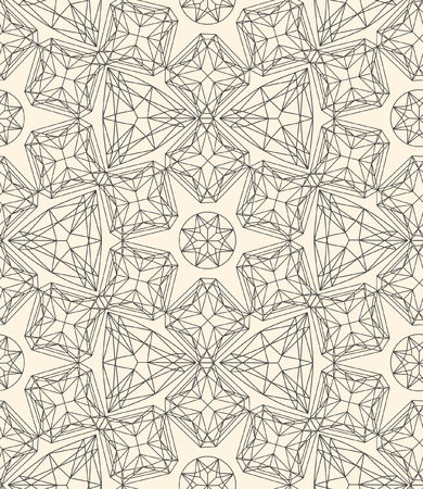 emerald stone: Seamless pattern made of line art crystals
