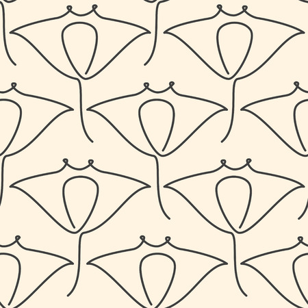 One line manta ray seamless pattern on beige background