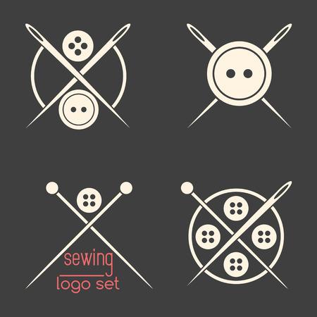 logotypes: Set of sewing logotypes on dark grey background