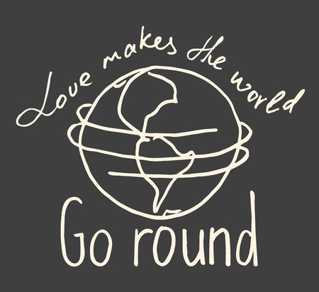 idioms: Lettering composition Love makes the world go round on grey background Illustration