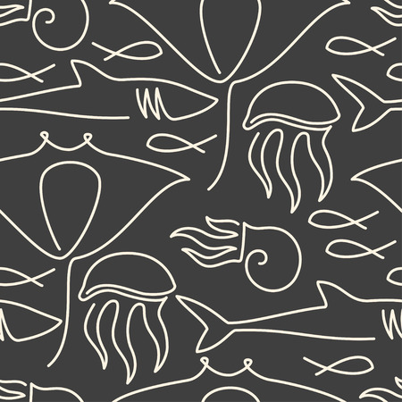 Seamless pattern made of sea fauna drawn with one line Illustration