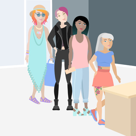 Four girls with original hairstyles of unique colors standing in waiting line