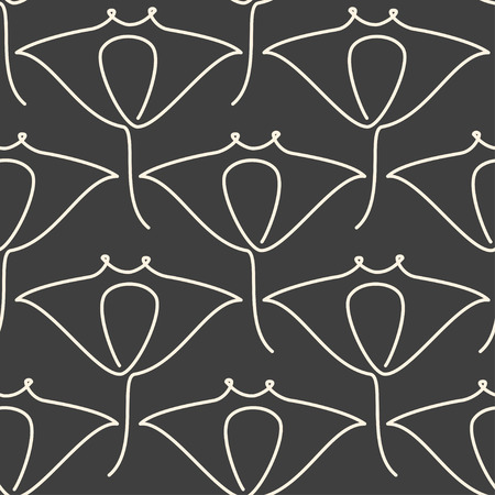 One line manta ray seamless pattern on dark grey background
