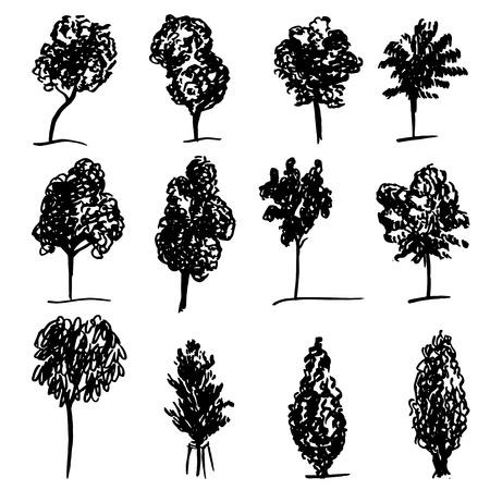 botanics: Set of hand drawn sketch trees on white background
