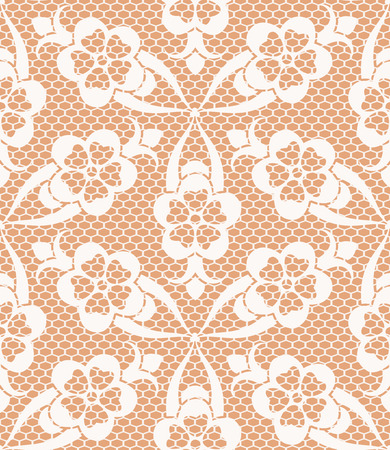 beige: Seamless white lace pattern on beige background Illustration