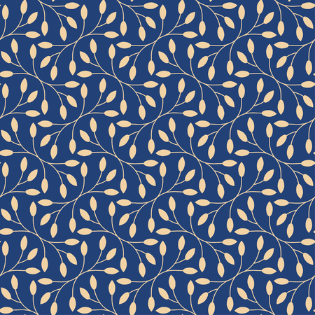 botanics: Seamless leaves pattern on blue background Illustration