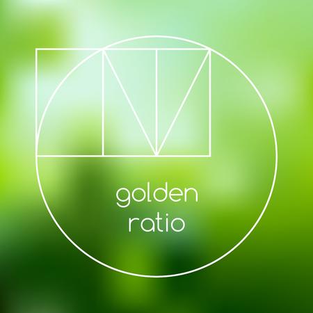 nombre d or: Or graphique de ligne de rapport sur fond vert floue