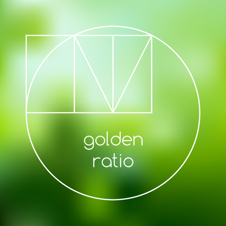 Golden ratio line graphic on blurred green background