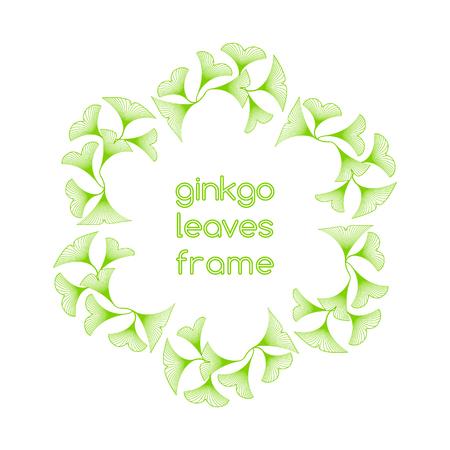 hexagone: Linear ginkgo biloba leaves frame on white background