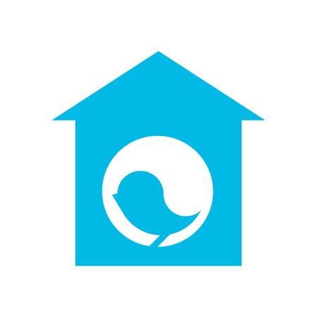 settle: Blue silhouette of bird in birdhouse on white background