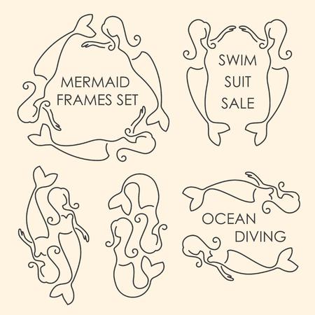 seamaid: Line art mermaids logo set on beige background Illustration