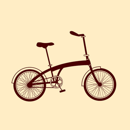 Brown bicycle illustration on yellow background