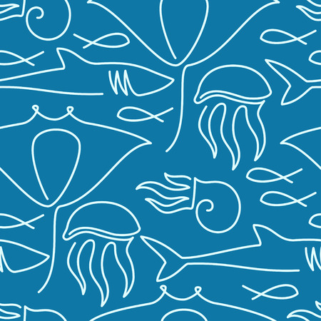 fauna: Seamless pattern made of sea fauna drawn with one line Illustration