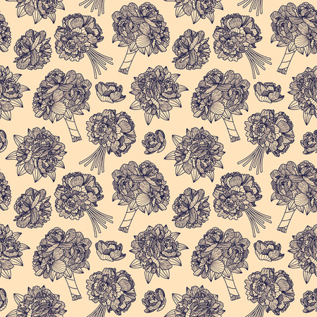 botanics: Seamless pattern made of peony bouquets on beige background Illustration