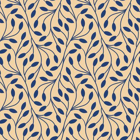 botanics: Seamless leaves pattern on beige background Illustration