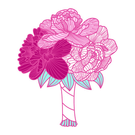 botanics: Wedding bouquet illustration made of peonies Illustration
