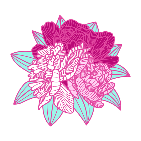 botanics: bouquet illustration made of peonies on white background