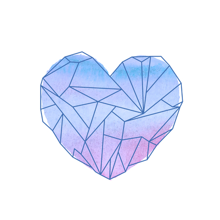 opal: Watercolor mineral heart-shaped crystal on white background Illustration